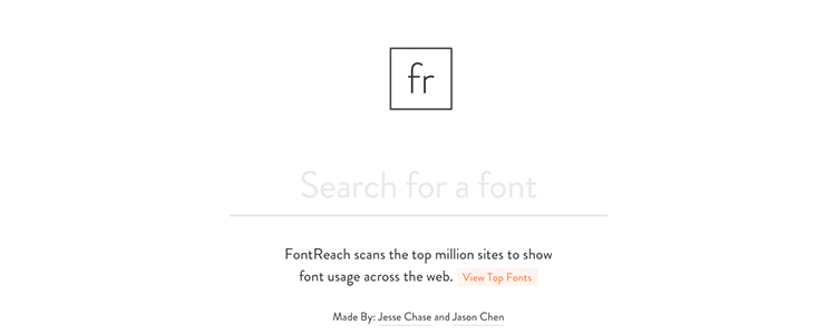 FontReach scans the top million sites to show font usage across the web.