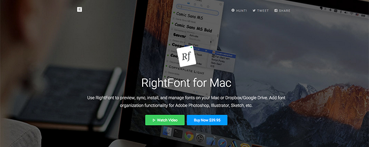 RightFont is a fast, pretty font manager for Mac that integrates with Adobe CC and Sketch.