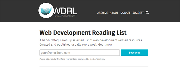 A handcrafted, carefully selected list of web development related resources. Curated and published usually every week.