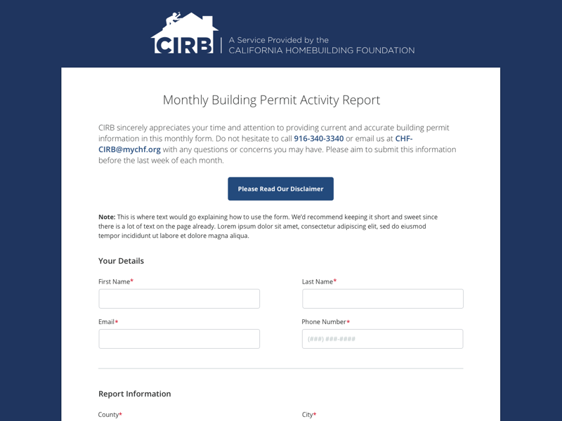 CIRB Online Reporting